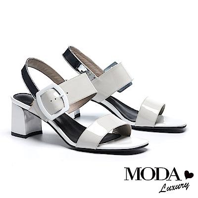 涼鞋 MODA Luxury 完美撞色漆皮一字帶高跟涼鞋-灰