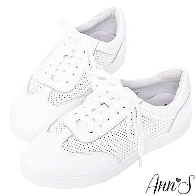 Ann'S第二代經典復刻休閒透氣孔綁帶小白鞋