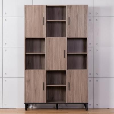 D&T德泰傢俱 BROOK淺胡桃木4尺書櫃-121.5x40x200cm