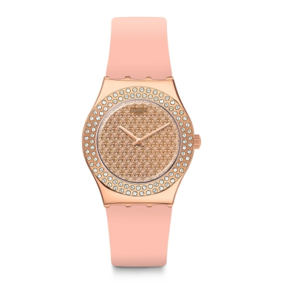 Swatch I Medium Standard 金屬系列手錶 粉鑽光芒-33mm