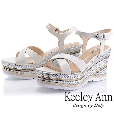Keeley Ann全真皮 編織撞色交叉楔型涼鞋(白色-Ann系列)