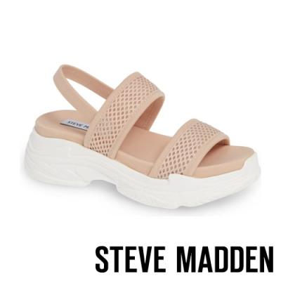 STEVE MADDEN-SUBLIME 輕鬆街頭布面寬帶厚底涼鞋-粉杏