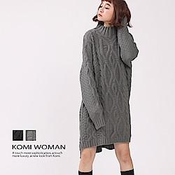 【KOMI】粗針手鉤感麻花辮毛線針織洋裝(共二色)