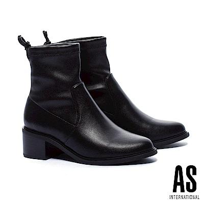 短靴 AS 帥氣個性後綁帶彈力皮革粗跟短靴-黑