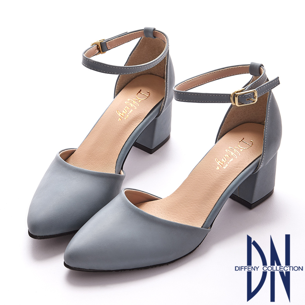 DN 微甜浪漫 知性經典尖頭瑪莉珍跟鞋-藍