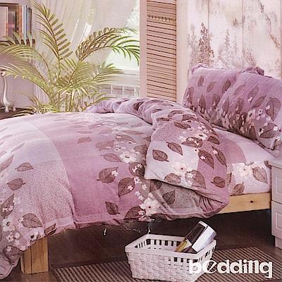BEDDING-法蘭絨床包鋪棉款-雙人床包被套四件組-潘多拉-粉