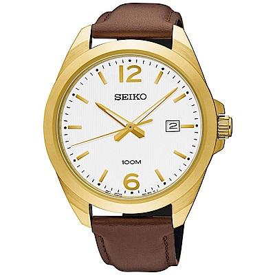 SEIKO 簡約風尚石英腕錶(SUR216P1)白-/42mm