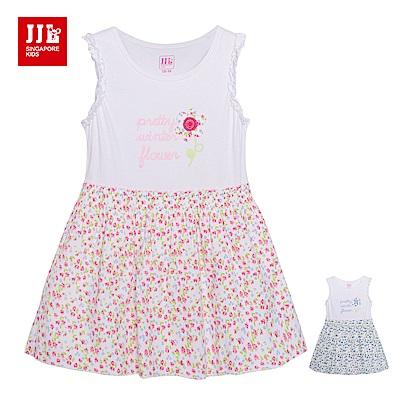 JJLKIDS 繽紛小碎花拼接無袖洋裝(2色)