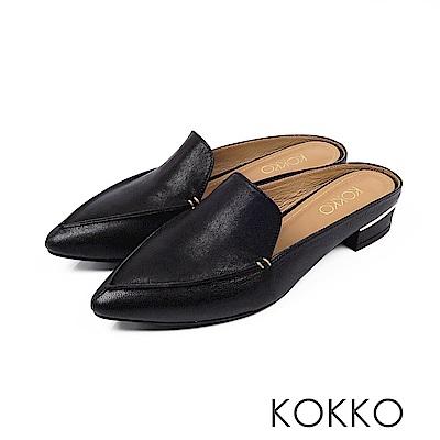 KOKKO -  理性與感性手工羊皮尖頭穆勒鞋-極簡黑