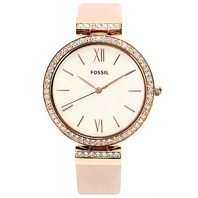FOSSIL 珍珠貝水鑽真皮腕錶-(ES4537)-37mm