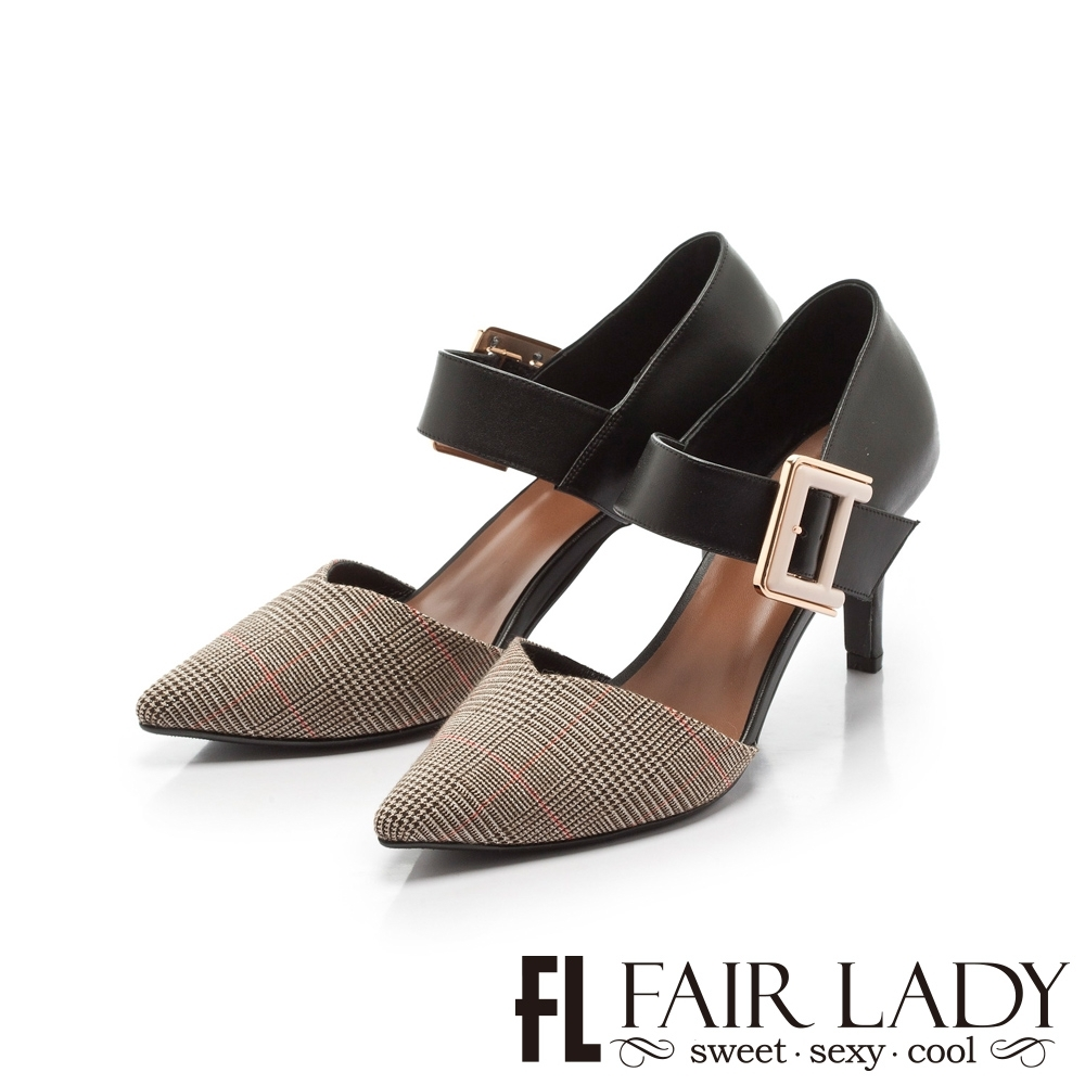 Fair Lady優雅小姐Miss Elegant拼接扣環繫帶尖頭高跟鞋 英倫格