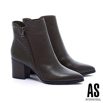 短靴 AS 率性魅力鉚釘排列全真皮尖頭高跟短靴-綠