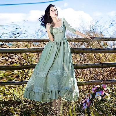 維多利亞風方領繡花收腰洋裝-S~L-維拉森林