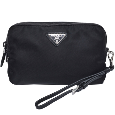 PRADA 品牌圖騰三角牌尼龍可拆式提帶方形手拿/化妝包(黑色)