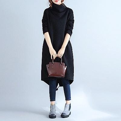 寬鬆高領加絨休閒連身裙M-2XL(共三色)-Keer