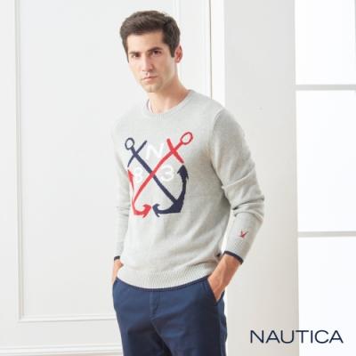 Nautica撞色船錨圖騰針織長袖毛衣-灰色