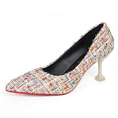 KEITH-WILL時尚鞋館 韓時尚唯美青春高跟鞋-米色
