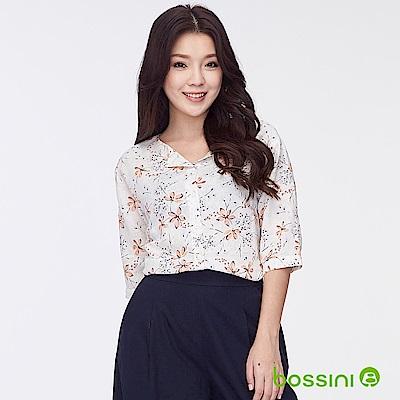 bossini女裝-棉麻反折袖印花罩衫01灰白