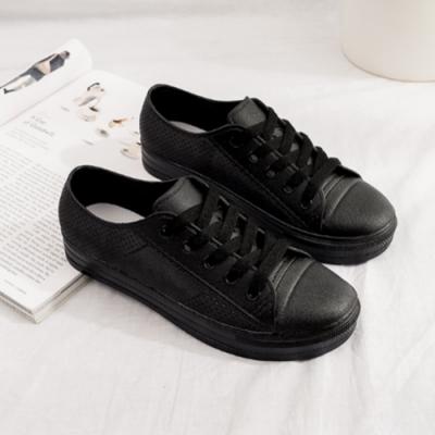韓國KW美鞋館-異國渡假素色防水輕量仿帆布鞋小白鞋雨鞋 黑