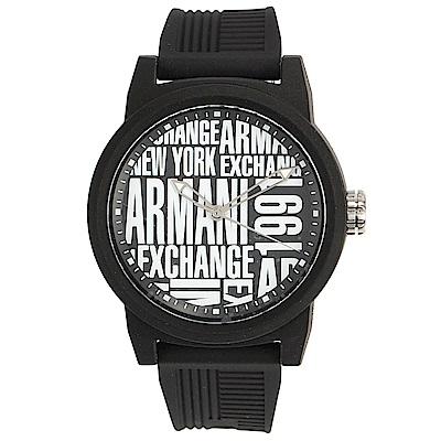 A/X Armani Exchange 潮流品味黑白撞色橡膠帶男腕錶-47mm