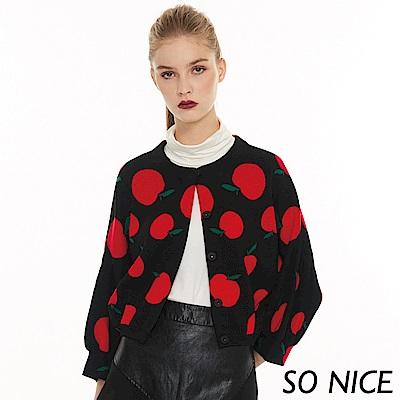 SO NICE俏麗蘋果燈籠袖針織外套