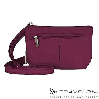 Travelon美國防盜包 質感佳經典防盜斜側包(TL-42952-15莓紅/休閒旅遊)