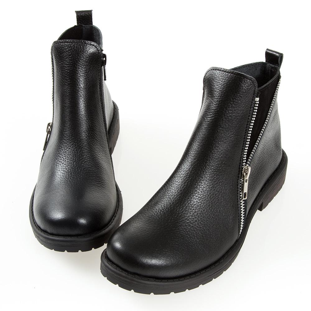 G.Ms. MIT系列-牛皮拉鍊拼接麂皮短靴-黑色