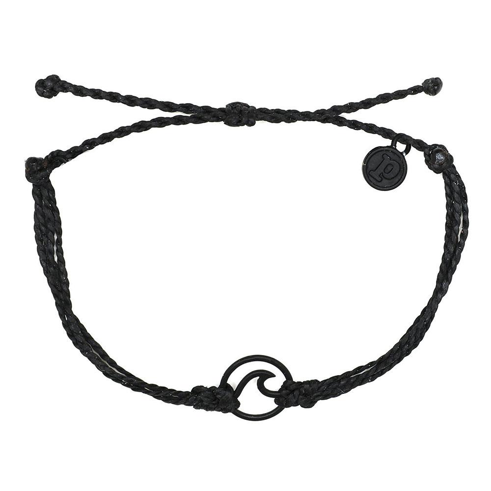 Pura Vida 美國手工 WAVE 黑色波浪綴飾 黑色臘線可調式手鍊衝浪海灘防水手繩