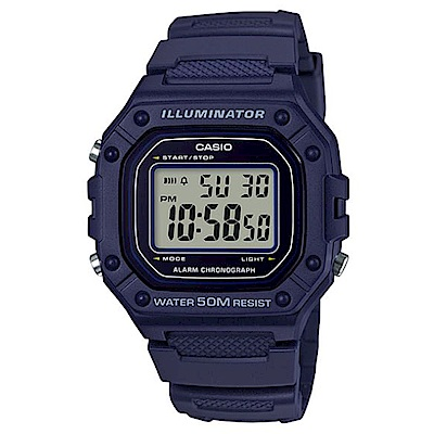 CASIO 多色方款造型實用數位休閒錶-藍(W-218H-2A)/43.2mm