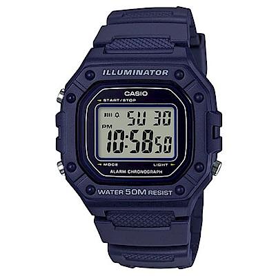 CASIO 復古風造型實用多色方款數位休閒錶-藍(W-218H-2A)/43.2mm