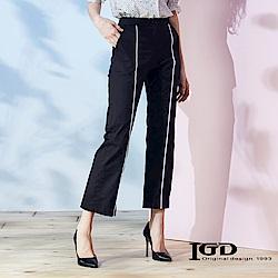 IGD英格麗 滾邊拉鍊設計休閒褲-黑