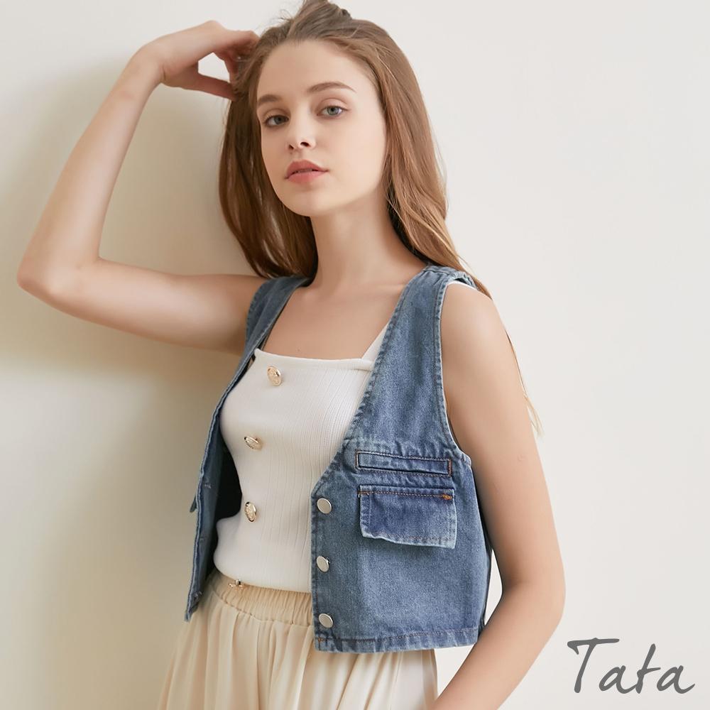大V領排釦短版牛仔背心外套 TATA-(S/M)