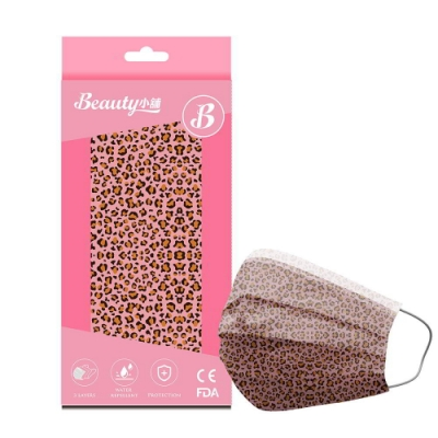Beauty小舖 印花3層防護口罩-豹紋(甜美粉)(10入/盒)