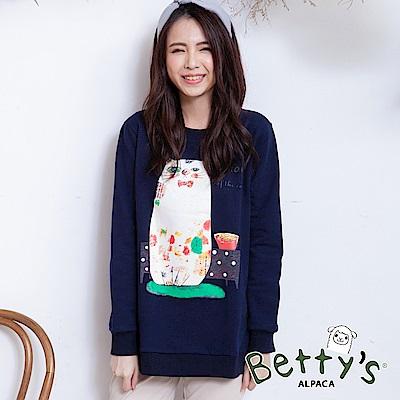 betty's貝蒂思 圓領貓咪印花刷毛長袖T-shirt(深藍)