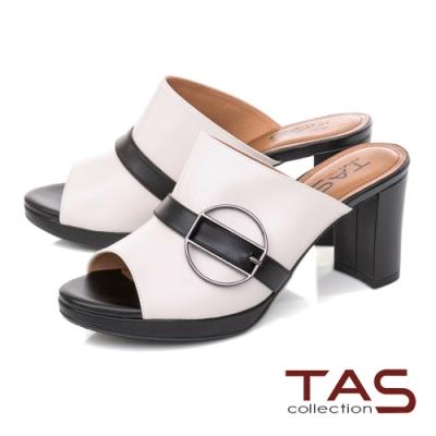 TAS金屬圓扣撞色粗跟涼拖鞋-百搭米