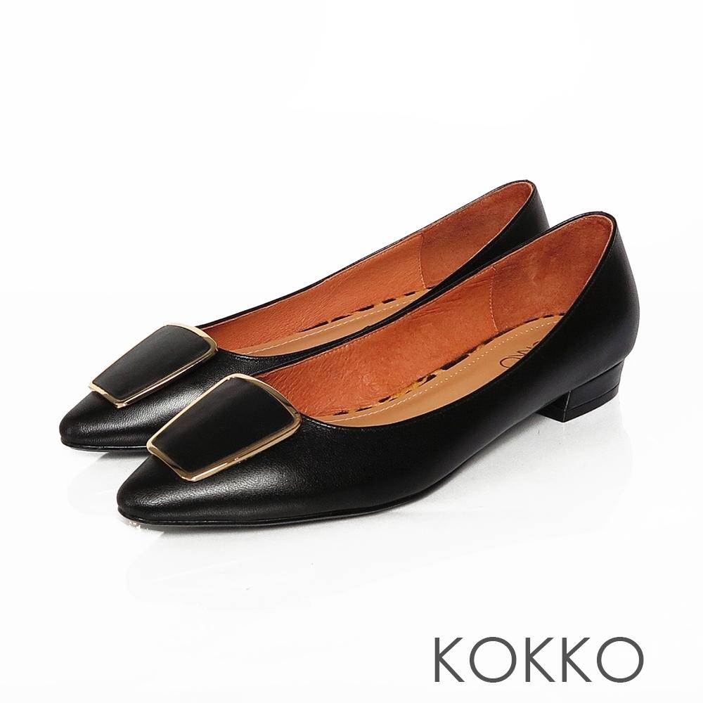KOKKO -金框方扣復古小跟鞋-經典黑