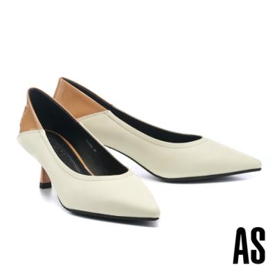 高跟鞋 AS 異材質拼接時髦撞色羊皮尖頭高跟鞋-白