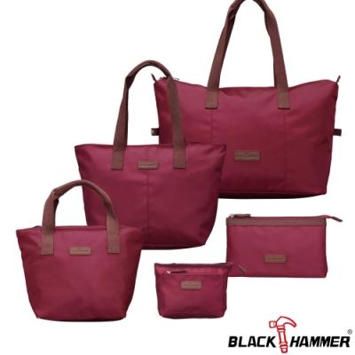 BLACK HAMMER 旅行外出購物袋 -超值五件組-紅