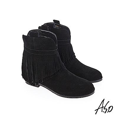 A.S.O 魅力心機 絨面牛皮短靴 黑