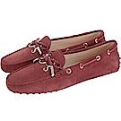 TOD'S Gommino 新版字母麂皮休閒豆豆鞋(女鞋/紅梨色)
