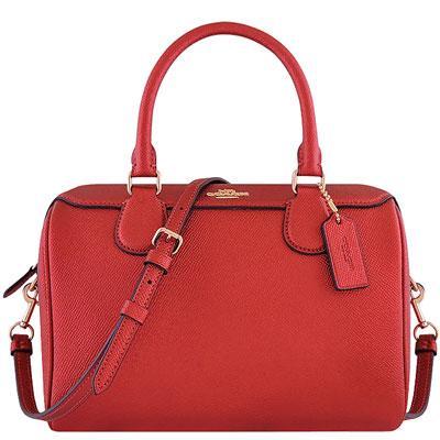 COACH 光澤防刮皮革手提/斜背兩用包(紅色)