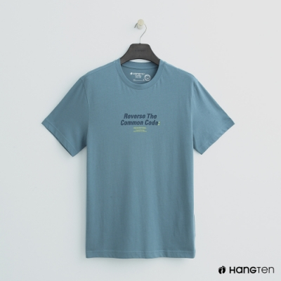 Hang Ten - 女裝 - 有機棉-簡約logo純色棉短T - 淺藍