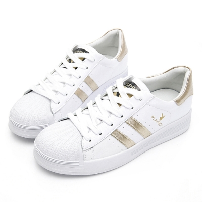 PLAYBOY 經典升級條紋仿皮休閒鞋-白金-Y631815