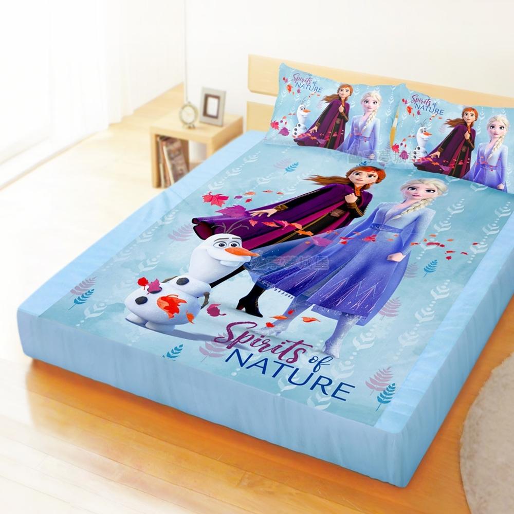 享夢城堡 雙人加大床包枕套6x6.2三件組-冰雪奇緣FROZEN迪士尼 秋日之森-藍