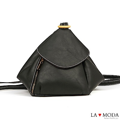 La Moda 實用性極佳多種背法肩背斜背後背包(黑)
