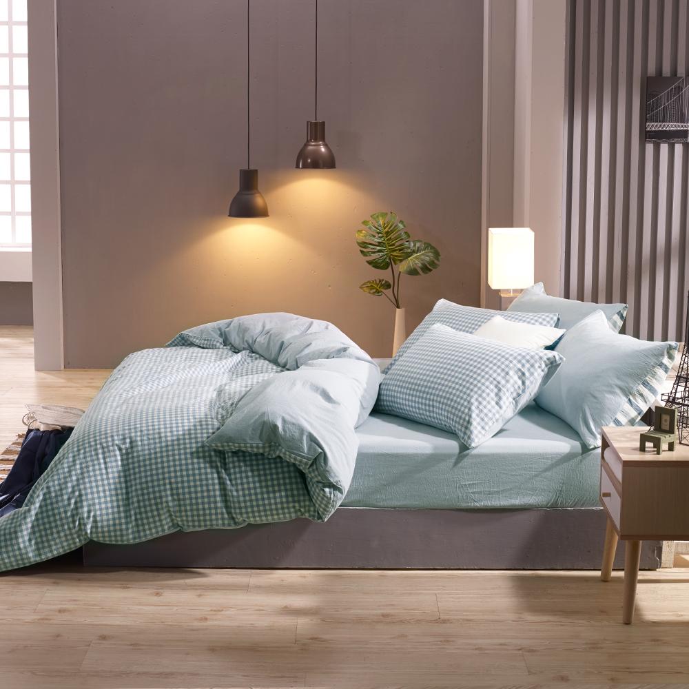 鴻宇 單人床包枕套組 色織水洗棉 法蘭西 台灣製