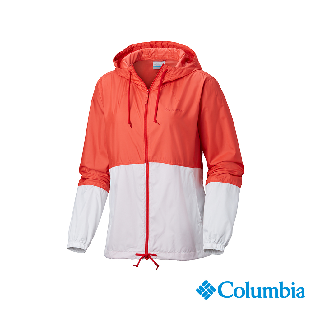 Columbia 哥倫比亞 女款-防潑水風衣-橘紅 UKR30100AH