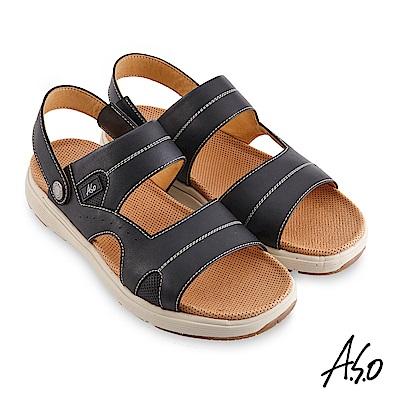A.S.O 機能休閒 輕量樂活涼拖雙穿男涼鞋-黑
