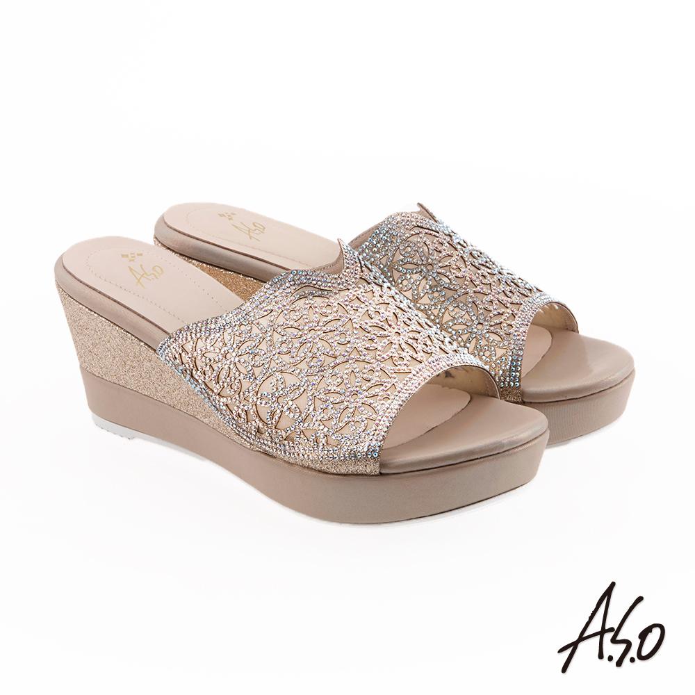 A.S.O 炫麗魅惑 鏤空水鑽楔型奈米涼拖鞋 金