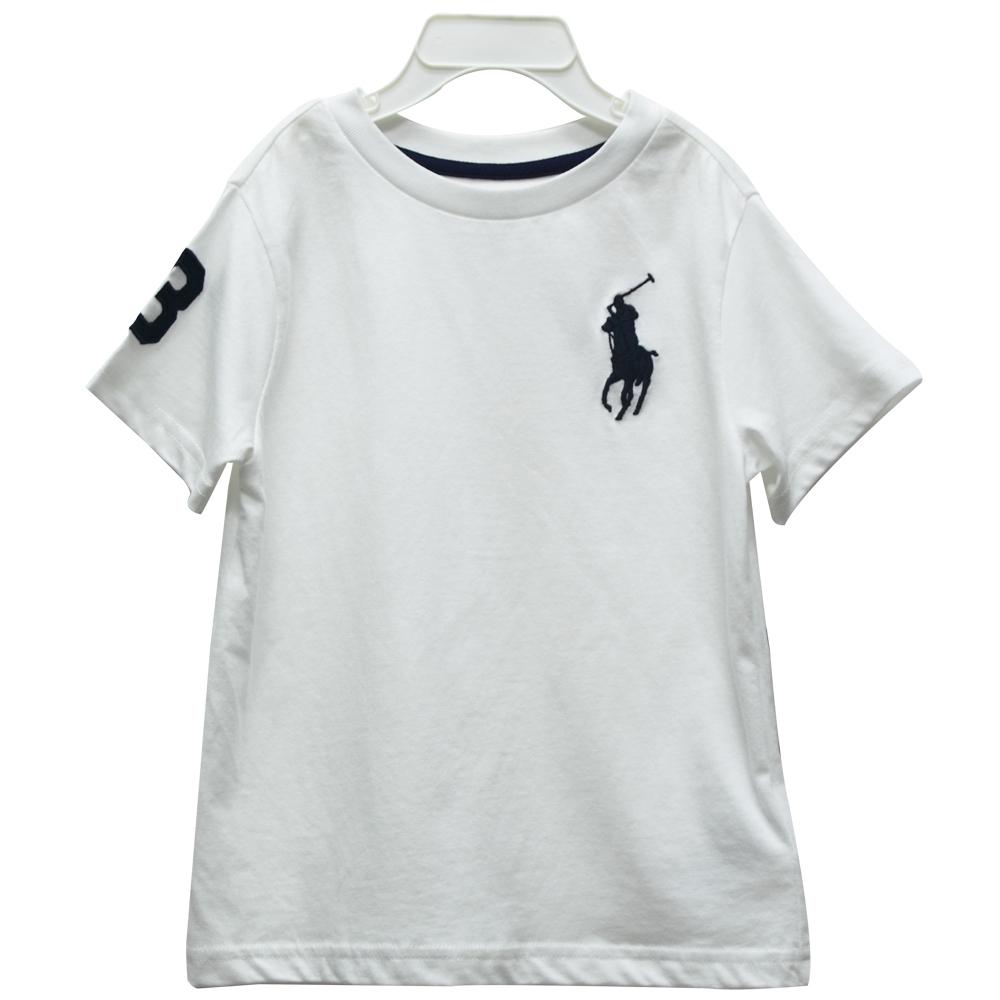 Ralph Lauren 童裝刺繡數字3經典大馬素面短袖t恤-白色(3/3T)